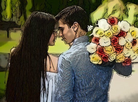 Парень дарить девушке цветы 35
